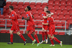 LIVERPOOL, ENGLAND - Tuesday, December 9, 2014: Liverpool's Ryan Kent celebrates scoring the first goal against FC Basel during the UEFA Youth League Group B match at Langtree Park. (Pic by David Rawcliffe/Propaganda)