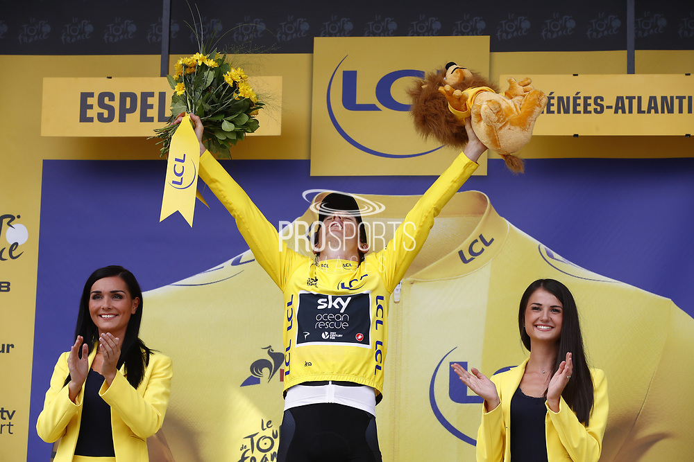 Podium Geraint Thomas (GBR - Team Sky) yellow leader jersey during the 105th Edition of Tour de France 2018, cycling race stage 20, time trial, Saint Pee sur Nivelle - Espelette (31 km) on July 28, 2018 in Espelette, France - Photo Luca Bettini / BettiniPhoto / ProSportsImages / DPPI