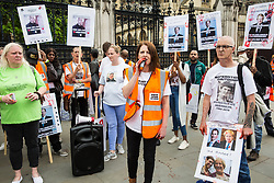 London, UK. 26 June, 2019. Campaigners against knife crime, including families who have lost loved ones to knife crime, protest outside Parliament as part of Operation Shutdown to put pressure on the Government, and in particular the next Prime Minister, to take urgent action to prevent knife crime and to protect its citizens.
