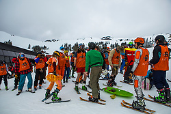 Racers ready themselves for the start of the Chinese Downhill at the 2017 Pain McShlonkey