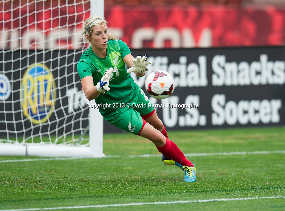 New Zealand's Jenny Bindon in action as Football Ferns goalkeeper - SAN FRANCISCO, CA - October 27, 2013:  The US Women's National Team vs New Zealand match in Candlestick Park in San Francisco, CA. Final score US Women's National Team 4, New Zealand 1.