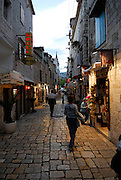 Early evening view of paved streets, Trogir, Croatia