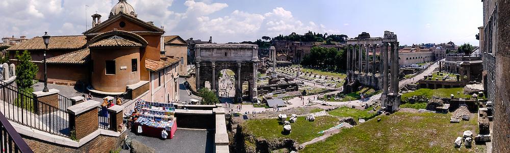 Italy, Rome. Panorama of the Forum Romanum.