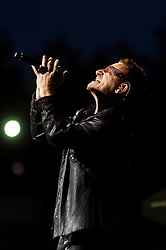 Bono U2 front man performs with the band during thier 2009  360 tour at Sheffield  Don Valley Stadium 20 August
