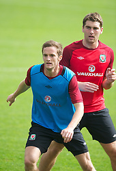 CARDIFF, WALES - Saturday, September 8, 2012: Wales' Andy King and Sam Vokes during a training session at the Vale of Glamorgan ahead of the 2014 FIFA World Cup Brazil Qualifying Group A match against Serbia. (Pic by David Rawcliffe/Propaganda)