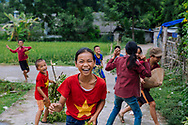 Carefree vietnamese kids playing in Nghia Lo, Vietnam, Southeast Asia