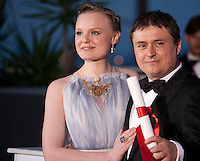 Actress Maria Dragus with Director Cristian Mungiu with the Award For Best Director Ex-Aequo For Bacalaureat (Graduation) at the Palm D'Or Winners photocall at the 69th Cannes Film Festival Sunday 22nd May 2016, Cannes, France. Photography: Doreen Kennedy