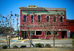 06 February 2015. Monroeville, Alabama.<br /> On the trail of Harper Lee's 'To Kill a Mocking Bird.'<br /> The old bank on the square in the old historic downtown square. Store facades have not changed much over the years.<br /> Photo; Charlie Varley/varleypix.com