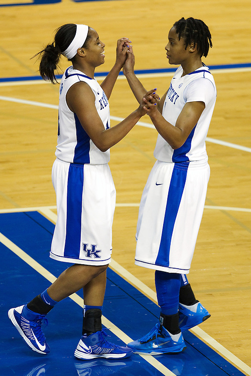 UK guard Bria Goss, left, is congratulated by teammate guard A'dia Mathies in the second half after Goss was fouled while going to the basket. The University of Kentucky Women hosted Mississippi State University Thursday, Jan. 17, 2013 at Memorial Coliseum in Lexington. Photo by Jonathan Palmer