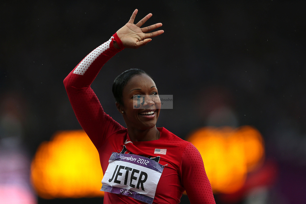Carmelita Jeter of the USA looks on after competing in a 200m heat during track and field at the Olympic Stadium during day 10 of the London Olympic Games in London, England, United Kingdom on August 3, 2012..(Jed Jacobsohn/for The New York Times)..
