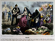 Franco-Prussian War 1870-1871: Allegory of the defeat destruction and bankruptcy of France, humiliated by  Prussia robbing her of her wealth.  Coloured lithograph.