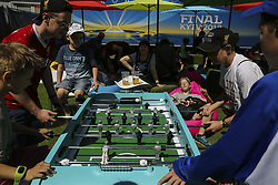 May 26, 2018 - Kiev, Ukraine - Real Madrid and Liverpool FC fans and supporters entertain at fan zone downtown Kyiv, Ukraine, May 26, 2018 before the UEFA Champions League Final. (Credit Image: © Sergii Kharchenko/NurPhoto via ZUMA Press)