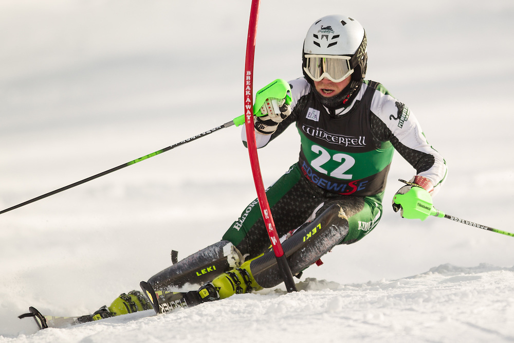 Max Martin of Plymouth State University, skis during the second  run of the men's slalom at the University of Vermont Carnival at Burke Mountain on January 26, 2014 in East Burke, VT. (Dustin Satloff/EISA)