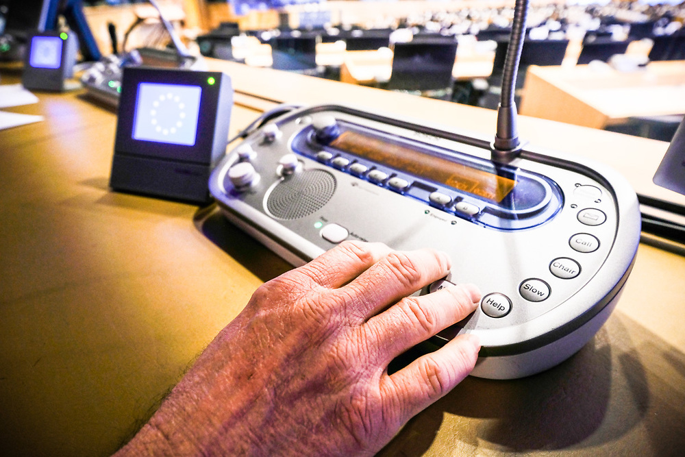 Stockshot of interpreter in the European Parliament