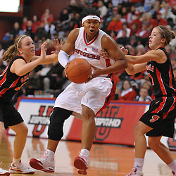 Dec 7, 2008; Piscataway, NJ, USA; Rutgers guard Khadijah Rushdan works towards the hoop during the first half of Rutgers' 45-34 victory over Georgia in the Jimmy V Classic at Louis Brown Athletic Center.