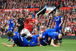 17th September 2017 - Premier League - Manchester United v Everton - Phil Jagielka of Everton (L) and teammates Ashley Williams (C) and Michael Keane (R) combine to close down a shot from Jesse Lingard of Man Utd - Photo: Simon Stacpoole / Offside.
