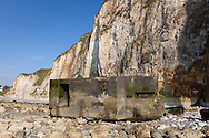 Bunker in the beach of Dieppe, Côte d'Albatre, Haute-Normandie, France