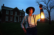 Without electricity or flashlights Sam Crane uses oil lamps to guide his way inside and out at his rural Shelby Co. farm. Crane lives a simple life by choice without plumbing or electricity. (Mike Fender Photo) w/ story