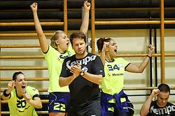 Players and coach Uros Bregar of RK Krim Mercator celebrate during hanball match between RK Krim Mercator and ZRK Buducnost at 14th Vinko Kandija Memorial, on August 19, 2017 in Sportna dvorana Krim, Ljubljana, Slovenia. Photo by Matic Klansek Velej / Sportida