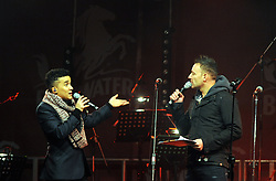 © Licensed to London News Pictures. 15/11/2013<br /> Jahmene Douglas talking to host Toby Anstis<br /> Bluewater,Kent. Christmas Light switch tonight (15.11.2013)<br /> with  Toby Antis, Justin Fletcher (Mr Tumble), Jahmene Douglas and X- factors Tamera Foster from this years show.<br /> Photo credit :LNP