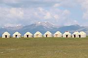 Yurts camp on Lake Song Kul in Kyrgyzstan