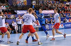 Domen Makuc of Celje PL during handball match between Meshkov Brest and RK Celje Pivovarna Lasko in bronze medal match of SEHA- Gazprom League Final 4, on April 15, 2018 in Skopje, Macedonia. Photo by  Sportida