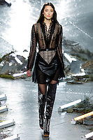 Tiana Tolstoi (Trump) walks the runway wearing Rodarte Fall 2015 during Mercedes-Benz Fashion Week in New York on February 17, 2015