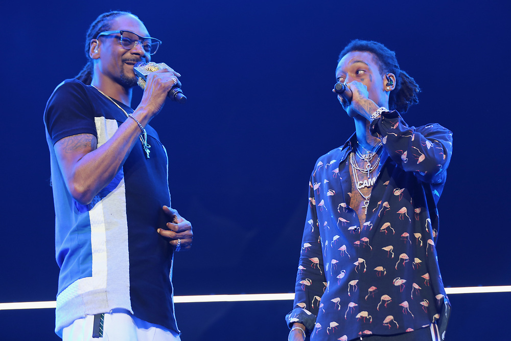 Snoop Dogg, left, and Wiz Khalifa perform at the 2017 BET Experience at The Staples Center on Thursday June 22, 2017, in Los Angeles. (Photo by Los Angeles/Invision/AP)