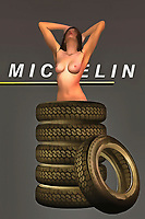 When it comes to the greatest vehicle tires of all time, few brand names stand out more intently for people than Michelin. For several generations, this has been a brand that has kept the vehicles of America and elsewhere running along. These are the tires that helped to build the America we know today. Even in the present, people continue to use Michelin Tires. These thoughts are brought to the forefront of our minds by combining them with the startling depiction of a woman in her natural, nude form. Tires surround the woman, and she appears to be completely at ease.