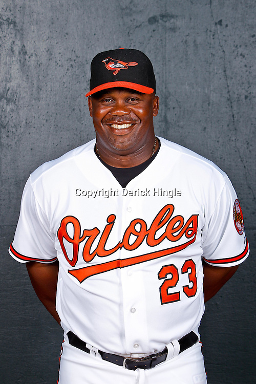 February 26, 2011; Sarasota, FL, USA; Baltimore Orioles coach Wayne Kirby (23) poses during photo day at Ed Smith Stadium.  Mandatory Credit: Derick E. Hingle