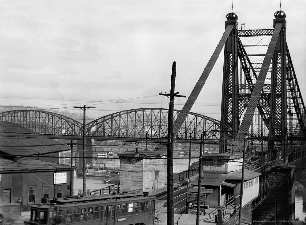 Railway bridge, waterfront and tram, Pittsburgh, Pennsylvania, 1926