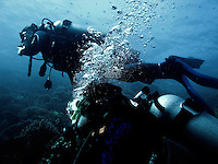 Divers make way to WWII wreck off coast of Coron, Philippines. Copyright 2015 Reid McNally.