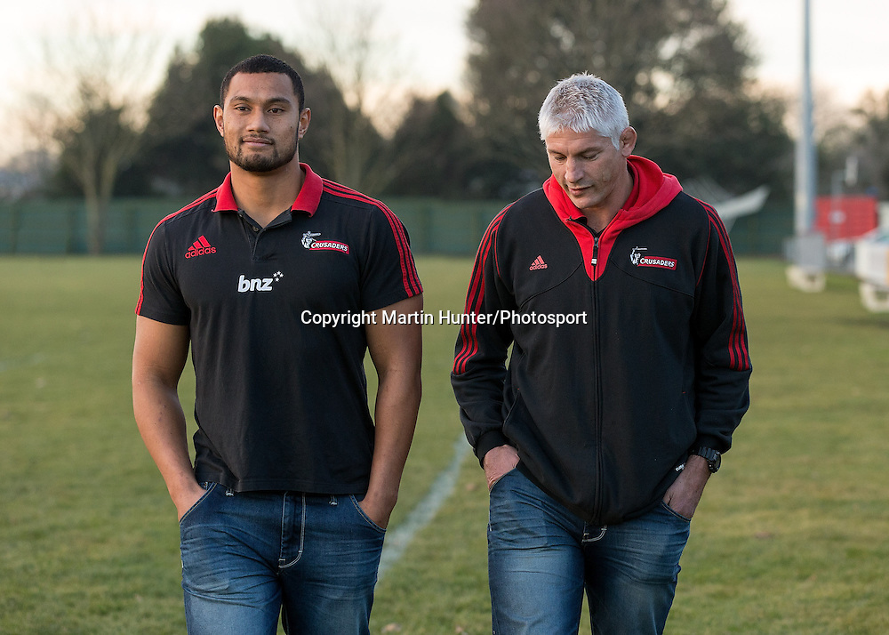 Robbie Fruean and Todd Blackadder, Crusaders head coach pose after fronting a media conference at Rugby Park, Christchurch, New Zealand. 30 June 2013. Photo: Martin Hunter/Photosport.co.nz