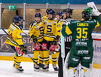 2020-01-15 | Umeå, Sweden: Södertälje (80) Ludwig Blomstrand score 2-3 in HockeyAllsvenskan during the game  between Björklöven and Södertälje at A3 Arena ( Photo by: Michael Lundström | Swe Press Photo )<br /> <br /> Keywords: Umeå, Hockey, HockeyAllsvenskan, A3 Arena, Björklöven, Södertälje, mlbs200115, happy happiness celebration celebrates