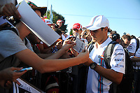 Felipe Massa (BRA) Williams signs autographs for the fans.<br /> Italian Grand Prix, Saturday 6th September 2014. Monza Italy.