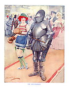 The Anti-Feminist. (an old knight in armour stands beside a bright young woman dressed in stockings and wearing boxing gloves)