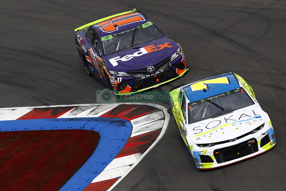 September 30, 2018 - Concord, North Carolina, United States of America - Ross Chastain (7) races during the Bank of America ROVAL 400 at Charlotte Motor Speedway in Concord, North Carolina. (Credit Image: © Chris Owens Asp Inc/ASP via ZUMA Wire)