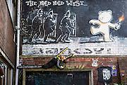The Mild Mild West Polar Bear Riot Police Bomb. Graffiti by Banksy on the all outside Hamilton House, Bristol. A vibrantcommunity hub  where art, music, enterprise andinnovation cluster as a community. Bristol, UK.