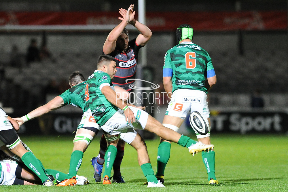 Ross Ford attempts to charge down Eduardo Gori's kick during the Guinness Pro 14 2017_18 match between Edinburgh Rugby and Benetton Treviso at Myreside Stadium, Edinburgh, Scotland on 15 September 2017. Photo by Kevin Murray.