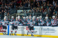 KELOWNA, CANADA - APRIL 8: Tomas Soustal #15, Nolan Foote #29 and Carsen Twarynski #18 of the Kelowna Rockets fist pump the bench to celebrate a goal against the Portland Winterhawks on April 8, 2017 at Prospera Place in Kelowna, British Columbia, Canada.  (Photo by Marissa Baecker/Shoot the Breeze)  *** Local Caption ***
