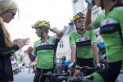 Cylance Pro Cycling riders discuss how stage finish unfolded after the 117,5 km third stage of the 2016 Ladies' Tour of Norway women's road cycling race on August 13, 2016 between Svinesund, Sweden and Halden, Norway. (Photo by Balint Hamvas/Velofocus)