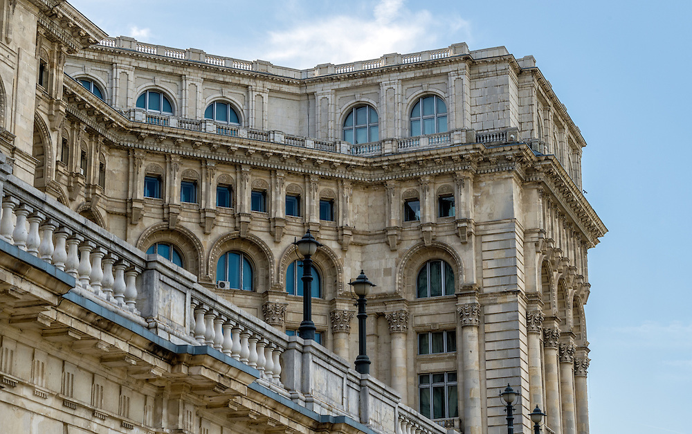 Architectural detail of  Palace of Parliament in Bucharest.