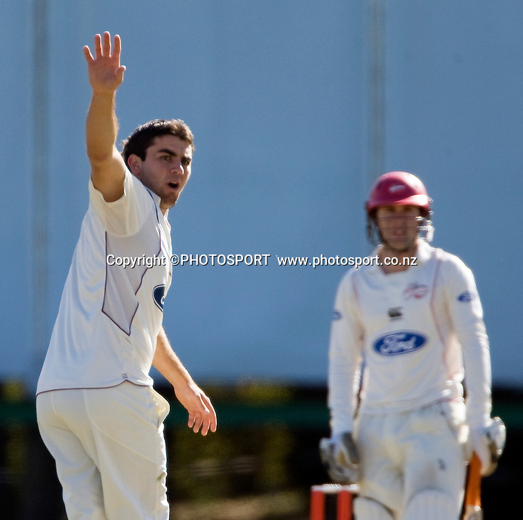 Northern Knight's bowler Jason Donnelly appeals for a caught behind on Canterbury's Todd Astle. Canterbury Wizards v Northern Knights, Plunket Shield Game held at Mainpower Oval, Rangiora, Wednesday 06 April 2011. Photo : Joseph Johnson / photosport.co.nz