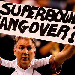 Oct 24, 2010; New Orleans, LA, USA; A dejected New Orleans Saints fan in the stands during the second half of a game against the Cleveland Browns at the Louisiana Superdome. The Browns defeated the Saints 30-17.  Mandatory Credit: Derick E. Hingle