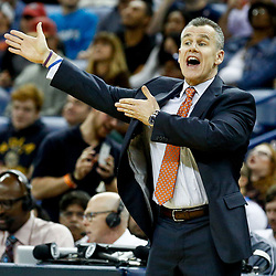 Jan 25, 2017; New Orleans, LA, USA; Oklahoma City Thunder head coach Billy Donovan against the New Orleans Pelicans during the second half of a game at the Smoothie King Center. The Thunder defeated the Pelicans 114-105. Mandatory Credit: Derick E. Hingle-USA TODAY Sports