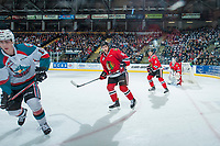 KELOWNA, CANADA - APRIL 8: Cole Kehler #31, Caleb Jones #3 and Matt Revel #18 of the Portland Winterhawks keep their eye on the play against the Kelowna Rockets on April 8, 2017 at Prospera Place in Kelowna, British Columbia, Canada.  (Photo by Marissa Baecker/Shoot the Breeze)  *** Local Caption ***