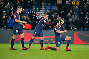 Edinson Roberto Paulo Cavani Gomez (psg) (El Matador) (El Botija) (Florestan) scored the second goal of the game, celebration with Marco Verratti (psg), Thomas Meunier (PSG) during the French Championship Ligue 1 football match between Paris Saint-Germain and ESTAC Troyes on November 29, 2017 at Parc des Princes stadium in Paris, France - Photo Stephane Allaman / ProSportsImages / DPPI