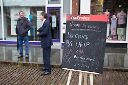 © Licensed to London News Pictures . 04/06/2014 . Newark , Nottinghamshire , UK . Ladbrokes board offering odds on the by-election result today (Wednesday 4th June 2014) with Bus Pass Elvis party getting 25/1 to beat the Lib Dems ahead of the Newark by-election tomorrow (Thursday 5th June 2014) . Photo credit : Joel Goodman/LNP