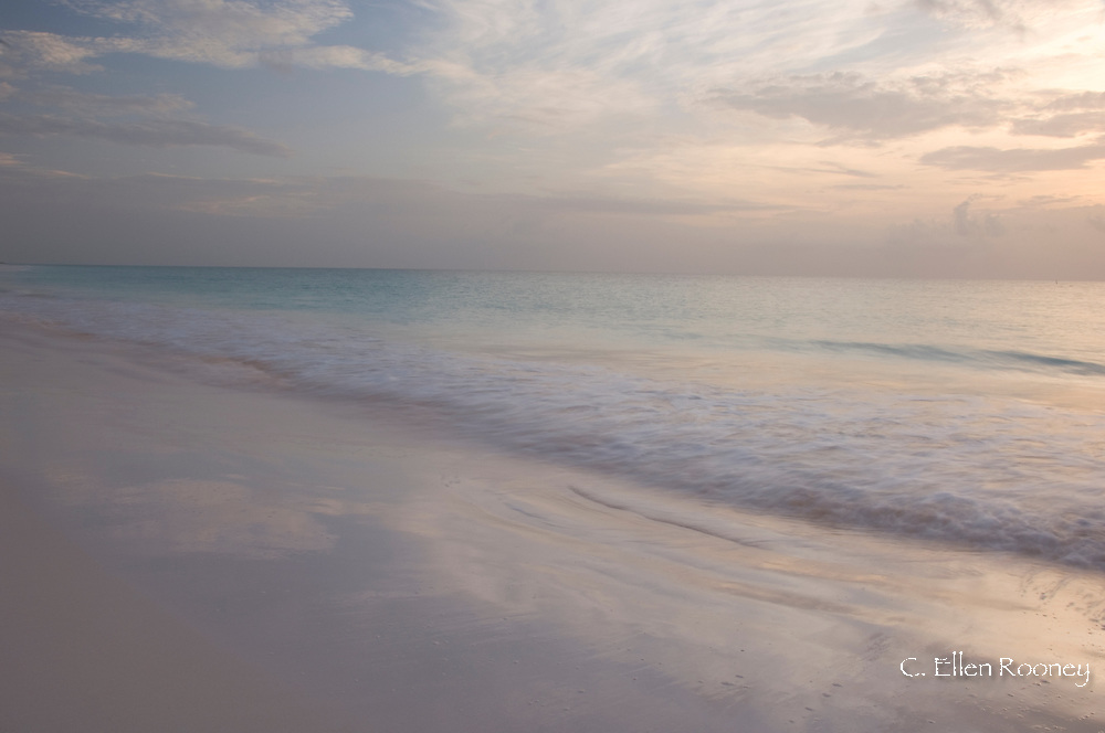 Pink Sands Beach at sunset, Harbour Island, The Bahamas