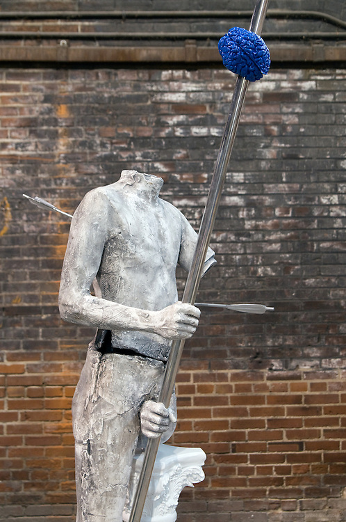 """Spear Bearer"" sculpture by Matthew Weir, photographed in the studio Monday, Nov. 23, 2009 in Louisville, Ky. (Photo by Brian Bohannon)"